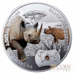 Niue Black Rhinoceros Silver Coin SOS to the World - Endangered Animal Species series $1 Colored 2014 Proof with Swarovski Elements