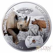 Niue Island Black Rhinoceros Silver Coin SOS to the World - Endangered Animal Species series $1 Colored 2014 Proof with Swarovski Elements