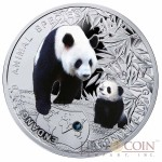 Niue Giant Panda Silver Coin series SOS to the World – Endangered Animal Species $1 Colored 2014 Proof with Swarovski Elements