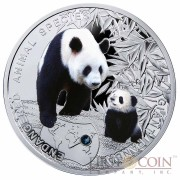 Niue Island Giant Panda Silver Coin series SOS to the World – Endangered Animal Species $1 Colored 2014 Proof with Swarovski Elements