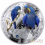 "Niue Hyacinth Macaw Silver Coin ""SOS to the World – Endangered Animal Species"" Series $1 Colored 2014 Proof with Swarovski Elements"