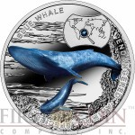 "Niue Island BLUE WHALE Silver Coin ""SOS to the World – Endangered Animal Species"" Series $1 Colored 2015 Proof with Swarovski Elements"