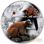 Niue Red Ruffed Lemur Silver Coin SOS to the World - Endangered Animal Species series $1 Colored 2014 Proof with Swarovski Elements