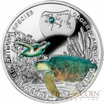 Niue Loggerhead Sea Turtle Silver Coin SOS to the World - Endangered Animal Species series $1 Colored 2014 Proof with Swarovski Elements