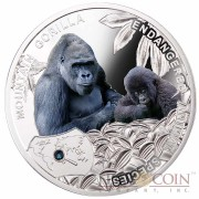 Niue Island Mountain Gorilla Silver Coin SOS to the World Endangered Animal Species series $1 Colored 2014 Proof with Swarovski Elements
