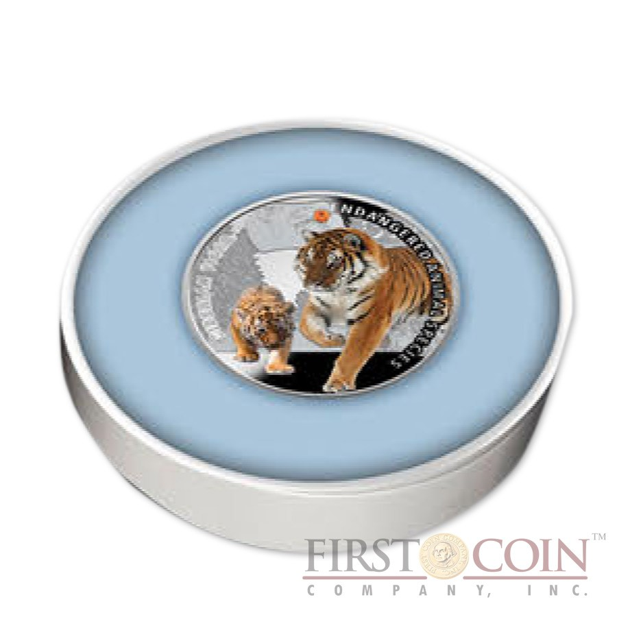 "Niue Island Siberian Tiger Silver Coin ""SOS to the World - Endangered Animal Species"" Series $1 Colored 2014 Proof with Swarovski Elements"