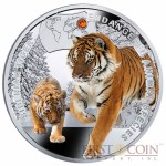 "Niue Siberian Tiger Silver Coin ""SOS to the World - Endangered Animal Species"" Series $1 Colored 2014 Proof with Swarovski Elements"