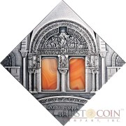 "Niue Romanesque Art of ""The Art that Changed the World"" series $1 Silver Coin 2014 Square Shape with Agate Insert Antique Finish"