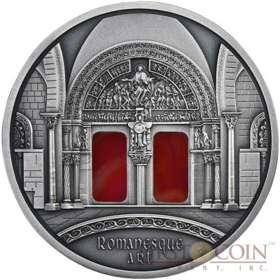 "Niue Romanesque Art of ""The Art that Changed the World"" series $10 Silver Coin 2014 Agate Insert Antique Finish 3 oz"