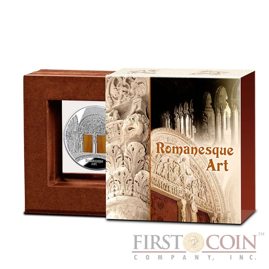 """Niue Romanesque Art of """"The Art that Changed the World"""" series $10 Silver Coin 2014 with Agate Insert Proof 3 oz"""