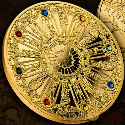 Niue Island The Art that Changed the World $100 Gold Coin 2014 Swarovski Crystals Proof 1.5 oz
