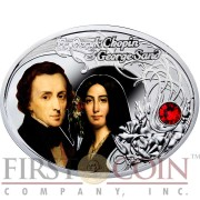 Niue Island FREDERYK CHOPIN AND GEORGE SAND $1 The Most Beautiful Polish Love Stories Series Colored Silver Coin Oval Swarovski Crystals 2014 Proof