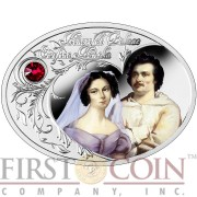 Niue Island HONORE DE BALZAC & EWELINA HANSKA $1 The Most Beautiful Polish Love Stories Series Colored Silver Coin Oval Swarovski Crystals 2015 Proof