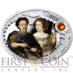 Niue Island JOHN III SOBIESKI AND MARIA D'ARQUIEN $1 The Most Beautiful Polish Love Stories Series Colored Silver Coin Oval Swarovski Crystals 2014 Proof