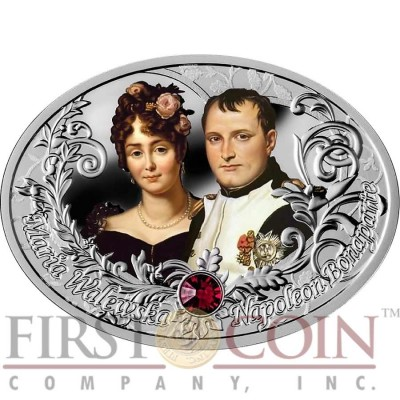 Niue Island NAPOLEON BONAPARTE AND MARIA WALEWSKA $1 The Most Beautiful Polish Love Stories Series Colored Silver Coin Oval Swarovski Crystals 2014 Proof