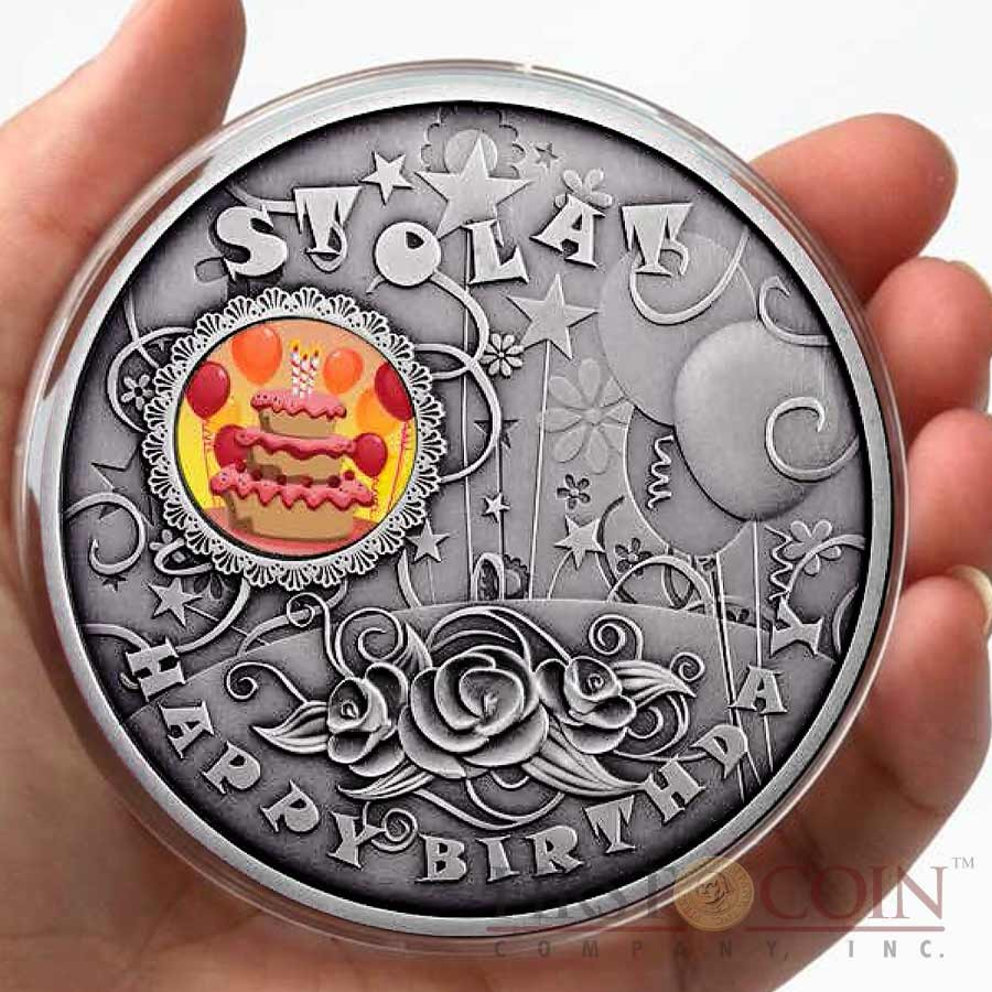Niue Happy Birthday 1 Colored Silver Coin 2014 Antique