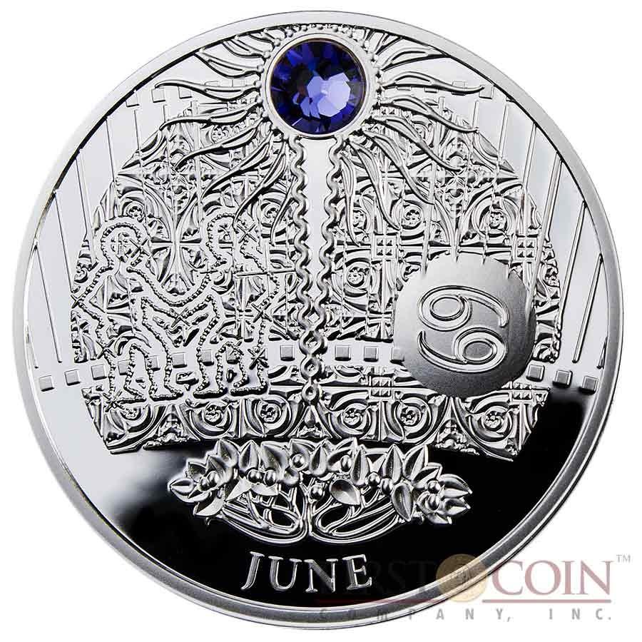Niue Island 12 Coin Set Zodiac Signs The Magic Calendar of Happiness Silver $12 Swarovski 2013-2014 Proof ~4 oz