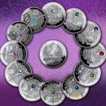 Niue Island 12 Coin Set Zodiac Signs The Magic Calendar of Happiness Silver $12 Swarovski 2013-2014 Proof ~4 oz