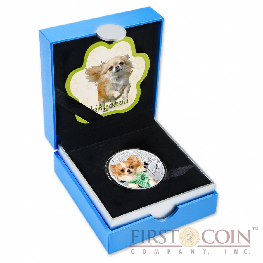 """Niue Chihuahua Silver Coin """"Dogs - Man's best friends"""" Series $1 Colored 2014 Proof"""