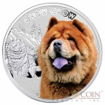 """Niue Chow-Chow Silver Coin """"Dogs - Man's best friends"""" Series $1 Colored 2014 Proof"""
