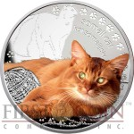 Niue Island SOMALI CAT Silver Coin Man's best friends - Cats Series $1 Colored 2015 Proof with Swarovski