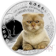 Niue Island SCOTTISH FOLD Silver Coin Man's best friends - Cats Series $1 Colored 2015 Proof with Swarovski