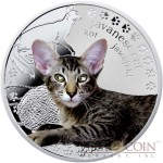 Niue Javanese Cat Silver Coin Man's best friends - Cats Series $1 Colored 2014 Proof with Swarovski