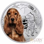 """Niue Cocker Spaniel Silver Coin """"Dogs - Man's best friends"""" Series $1 Colored 2014 Proof"""