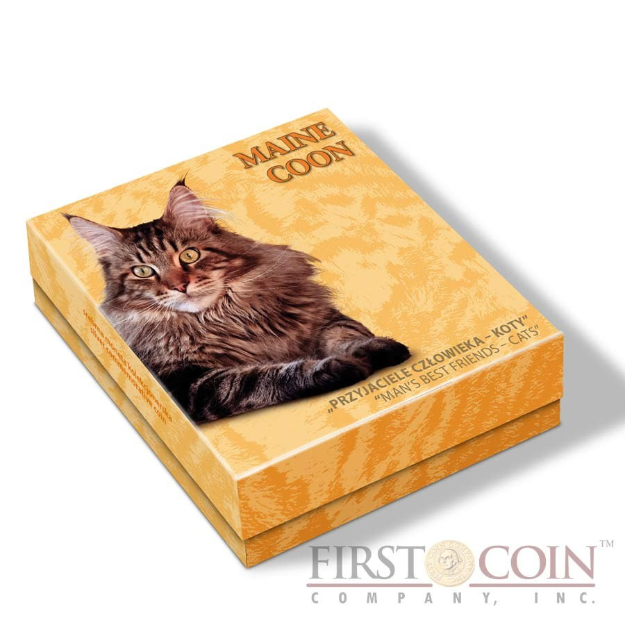 Niue Maine Coon Cat Silver Coin Man's best friends - Cats Series $1 Colored 2014 Proof with Swarovski