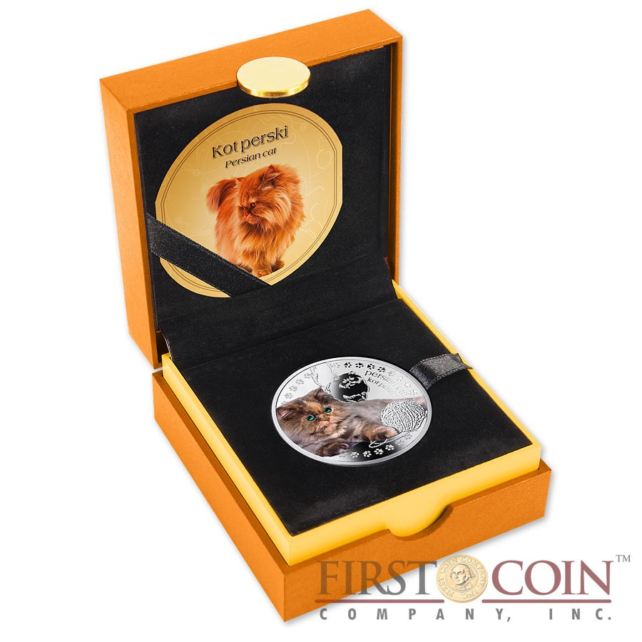 Niue Persian Cat Silver Coin Man's best friends - Cats Series $1 Colored 2014 Proof with Swarovski