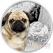 "Niue Island Pug Silver Coin ""Dogs - Man's best friends"" Series $1 Colored 2015 Proof"