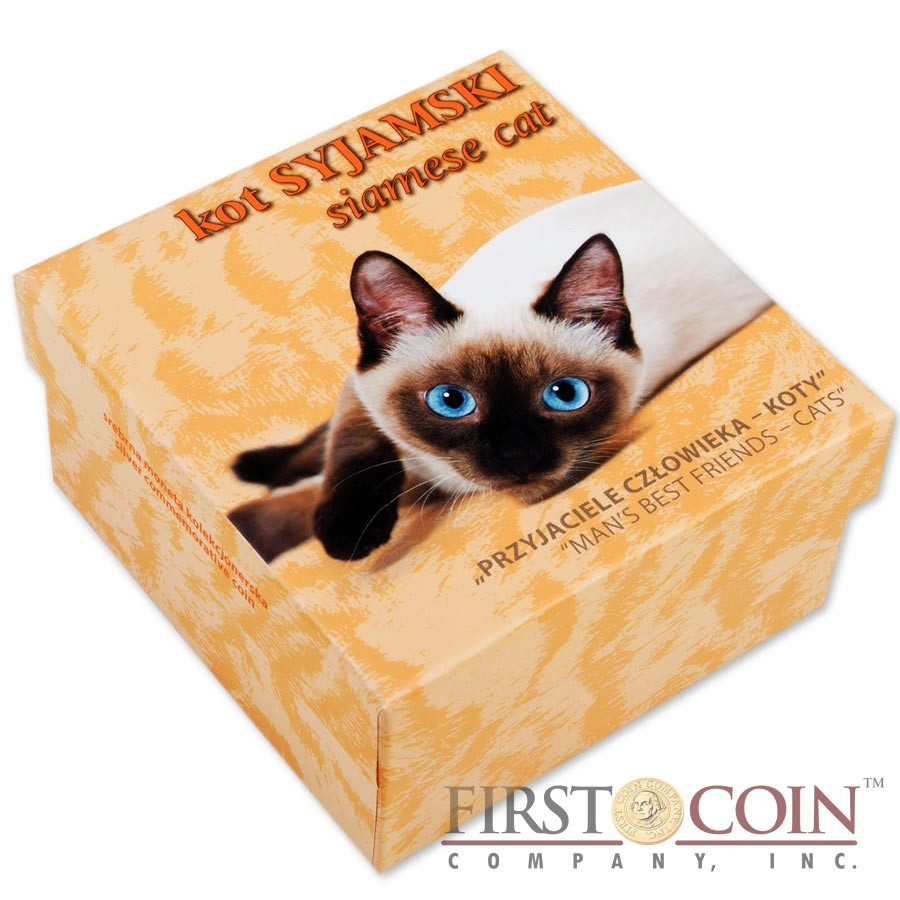 Niue Siamese Cat Silver Coin Man's best friends - Cats Series $1 Colored 2014 Proof with Swarovski