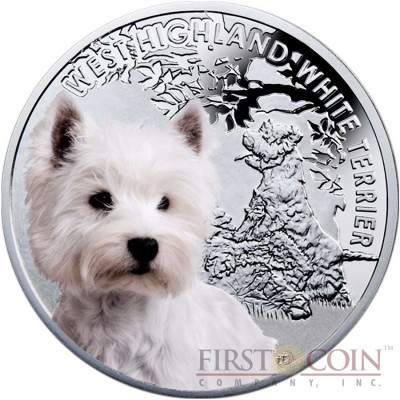 """Niue West Highland White Terrier Silver Coin """"Dogs - Man's best friends"""" Series $1 Colored 2014 Proof"""