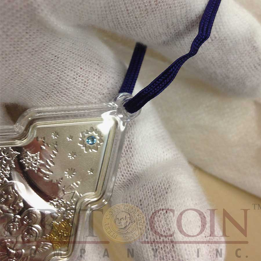 Niue Island Christmas Tree $2 Gilded Silver Coin 2014 Swarovski Elements Proof 1 oz