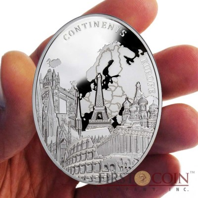 Niue Europe of Continents series $2 Silver Coin 2013 Oval Shape Proof ~2 oz