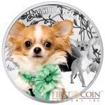 "Niue Chihuahua Silver Coin ""Dogs - Man's best friends"" Series $1 Colored 2014 Proof"