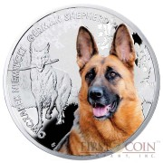 "Niue German Shepherd Silver Coin ""Dogs - Man's best friends"" Series $1 Colored 2014 Proof"