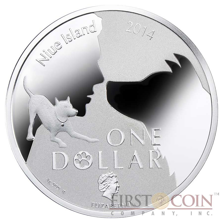 """Niue Yorkshire Terrier Silver Coin """"Dogs - Man's best friends"""" Series $1 Colored 2014 Proof"""