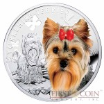 "Niue Yorkshire Terrier Silver Coin ""Dogs - Man's best friends"" Series $1 Colored 2014 Proof"