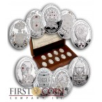 Niue Island Imperial Faberge Eggs 16.81 g series Silver 9 Coin Set Proof 2013 Swarovski Crystals ~4.86 oz