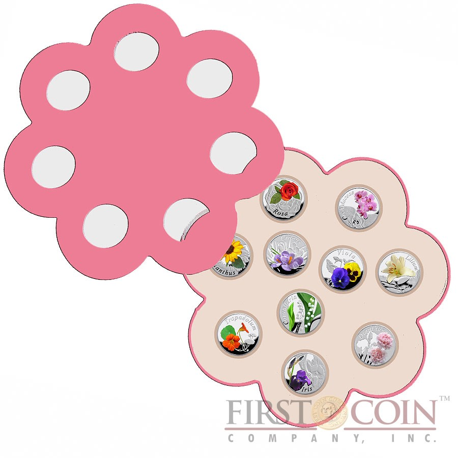 """Belarus """"Under the Charm of Flowers"""" 10 Coin Set Silver 100 Rubles Colored 2013 Proof ~5 oz"""