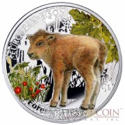 "Niue European Bison Silver Coin ""Forest Babies"" Series $1 Colored 2014 Proof"