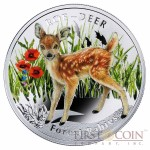 "Niue Roe Deer Silver Coin ""Forest Babies"" Series $1 Colored 2014 Proof"