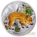 "Niue Wild Boar Silver Coin ""Forest Babies"" Series $1 Colored 2014 Proof"