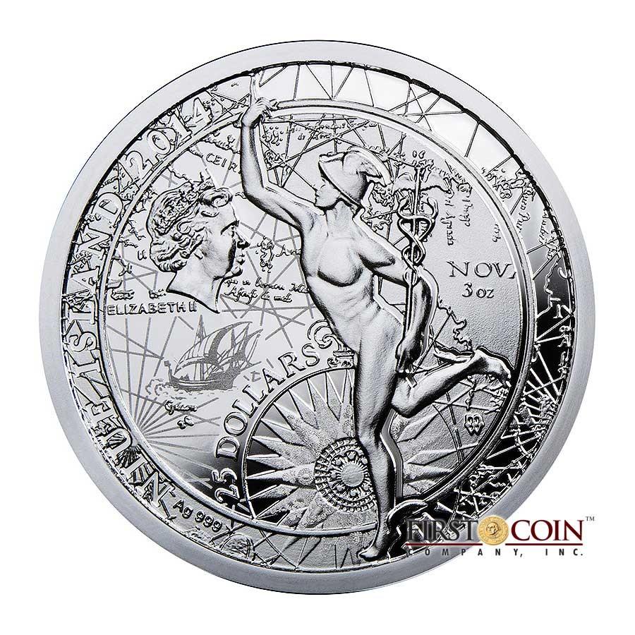 Niue Island FORTUNA REDUX MERCURY $25 Silver Coin 2014 Cylinder shaped Proof 3 oz