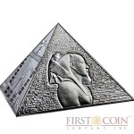 Niue Island The Great Pyramids Masterpiece of Mint Art $15 Pyramid Shaped High Relief Silver coin 3 oz Proof 2014
