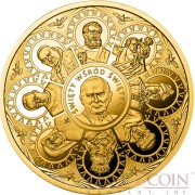 Niue Island The Saint among Saints Canonization Pope John Paul II $500 Silver Coin 2014 Pure Gold plating Proof 4 Kilo