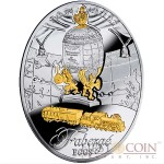 Niue Trans-Siberian Railway Egg $2 Gilded Imperial Faberge Eggs 56.56 g series Silver Coin 2014 Oval Shape Proof 1.8 oz