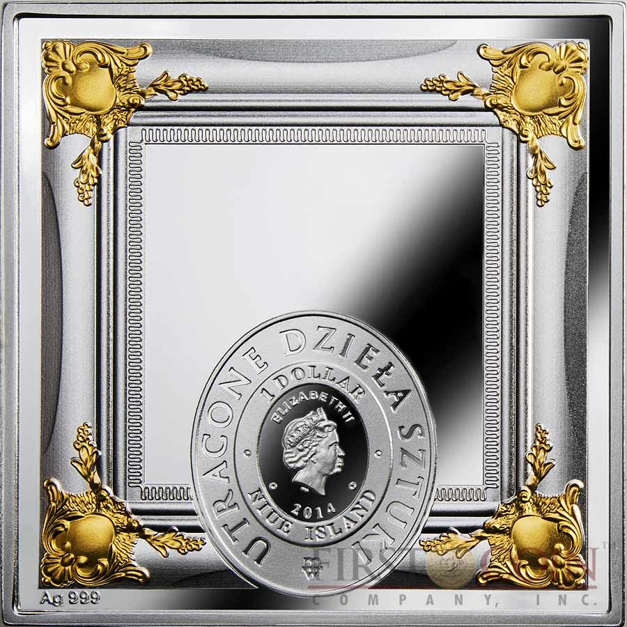 Niue Beautiful Madonna of Torun $1 Missing Works of Art series Gilded with Swarovski Element Silver coin Square shape 2014 Proof 1 oz