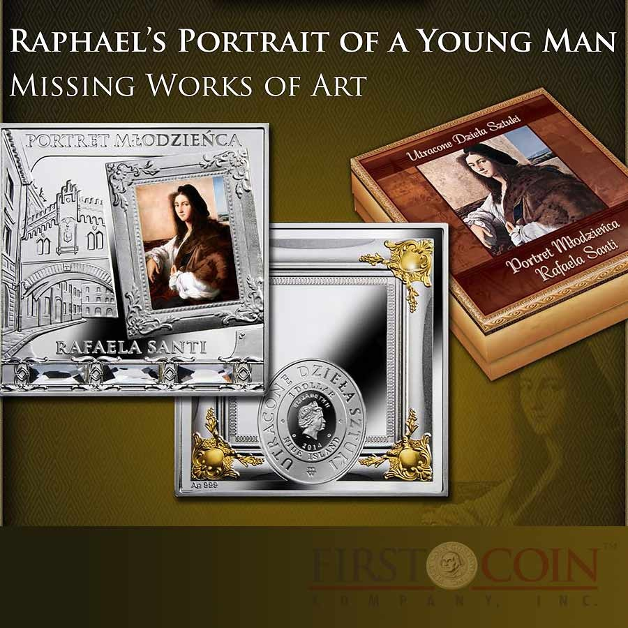 Niue Raphael's Portrait of a Young Man $1 Missing Works of Art series Gilded with Swarovski Element Silver coin Square shape 2014 Proof 1 oz